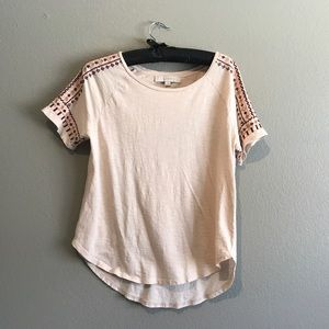 Neutral Embroidered Shoulder Tee
